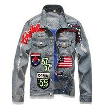 Для мужчин джинсовая куртка хлопок письмо флаг вышивка окрашены узор Куртки Новая мода Тонкий Марка уличной Для мужчин s джинсы пальто DS50553