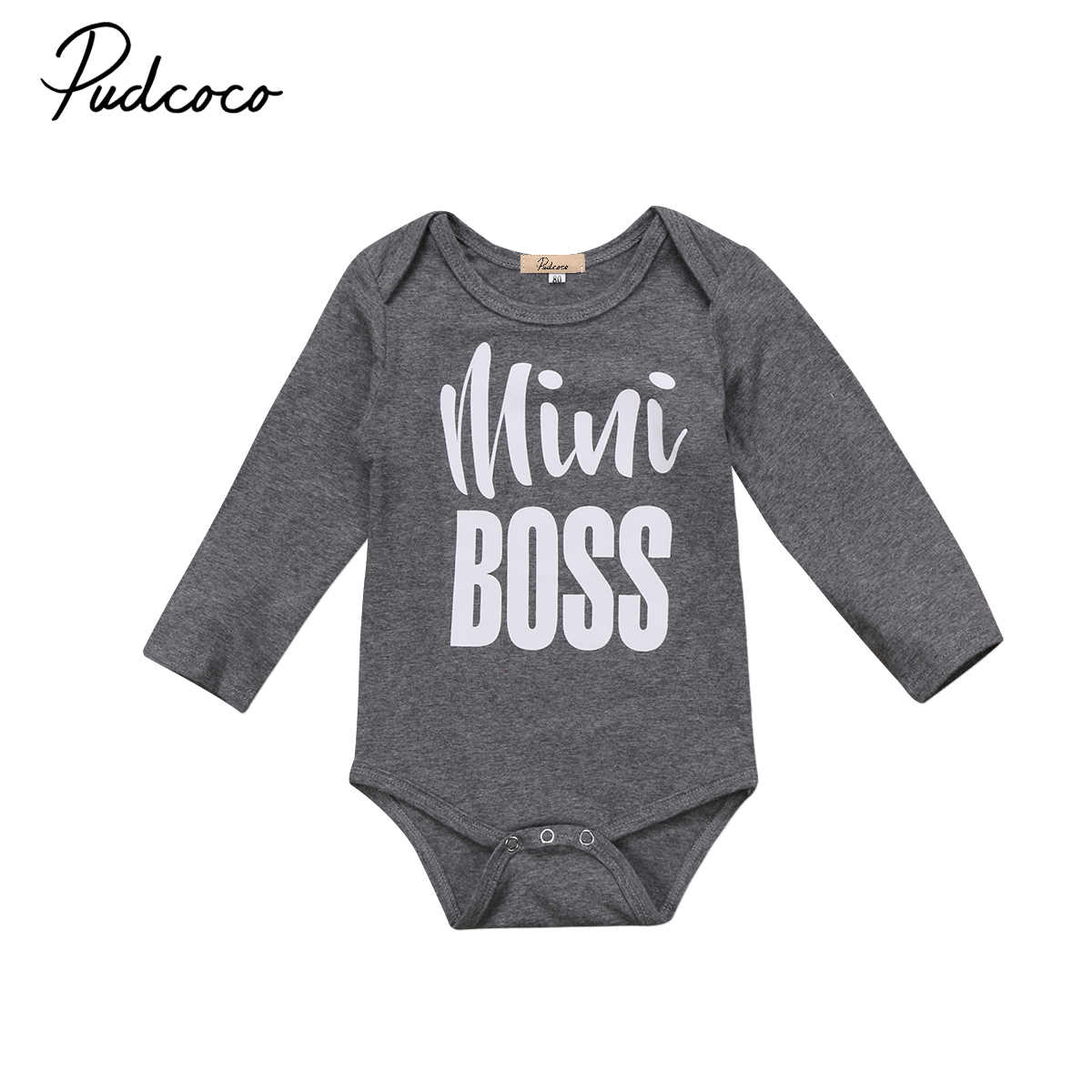 63e56ac8b5ff 2017 autumn new Cute Newborn Infant Baby Boys Girls Cotton Long Sleeve  Romper letter Jumpsuit gray