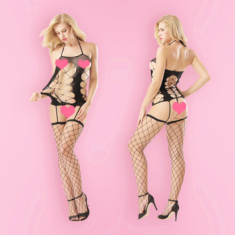 Women Sexy Lace Erotic Lingerie Open Crotch Stockings Crotchless Fishnet Sheer Nightdress Underwear Sex Costumes Sleepwear 8970