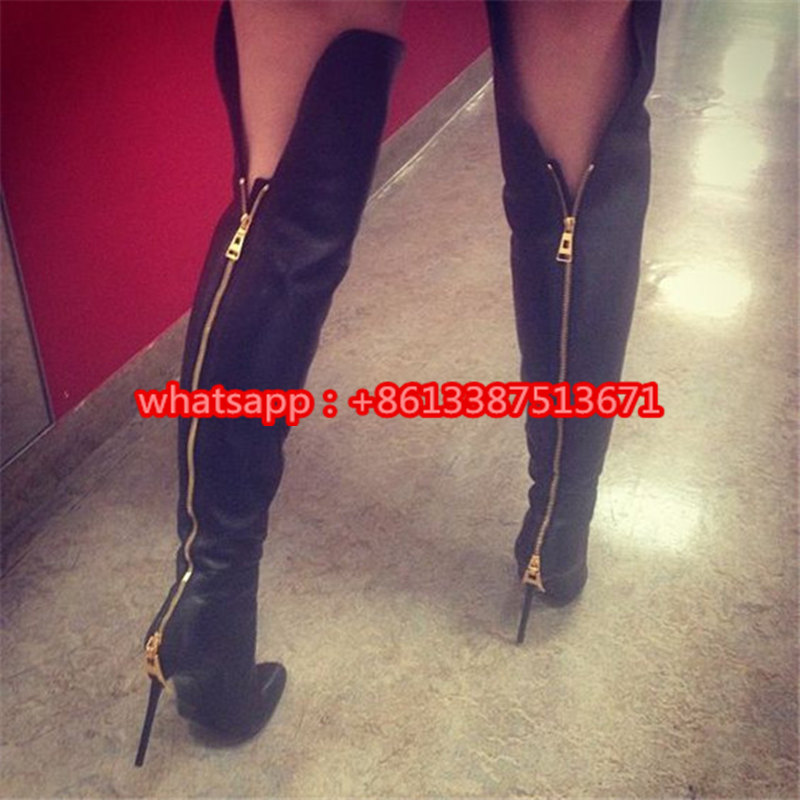 цены на Sexy Black Leather / Suede Over The Knee Women Boots Pointed Toe Back Zipper Up Zip High Heel Gladiator Boots Shoes Woman в интернет-магазинах