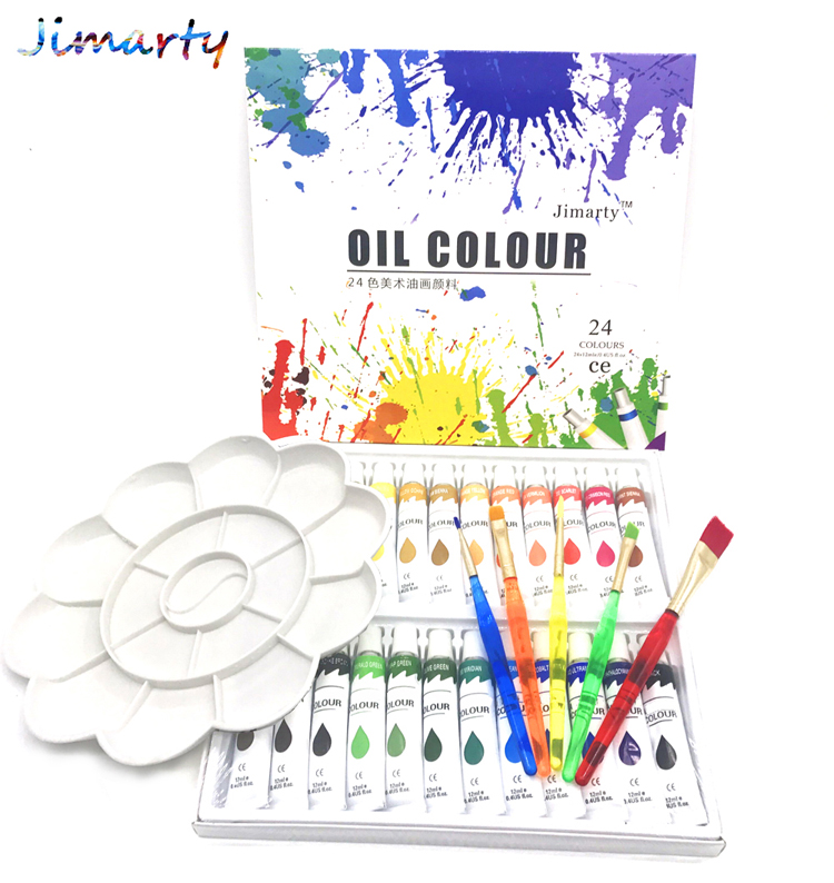 Professional Brand Tube Oil Paints art for artists Canvas Pigment Art Supplies Drawing 12ML 24Colors paint brush&palette Set цена