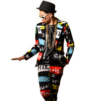 Letters Printing Men Casual Suit Male Slim Fit Blazers Jacket Fashion Show Stage Costumes Nightclubs Singer Dancer DSDJ Clothing
