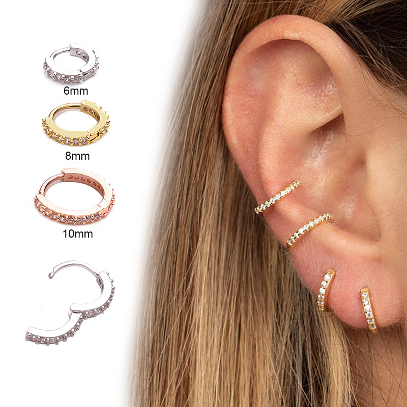 Sellsets New Arrival 1pc 6mm/8mm/10mm Cz Huggie Hoop Cartilage Earring Helix Tragus Daith Conch Rook Snug Ear Piercing Jewelry broad paracord