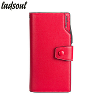 Ladsoul New Fashion Leather Women Wallet Coin Money Pouch Long Women Purses Famous Brand Card Holder