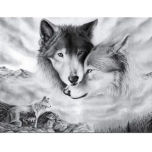 Full Drill Round Diamond Embroidery Diamond Painting 5D DIY Animal Wolf Patttern Mosaic Stickers Diamond Cross Stitch diamond painting 5d diy full drill round diamond two snow wolf pattern embroidery mosaic stickers cross stitch decorative