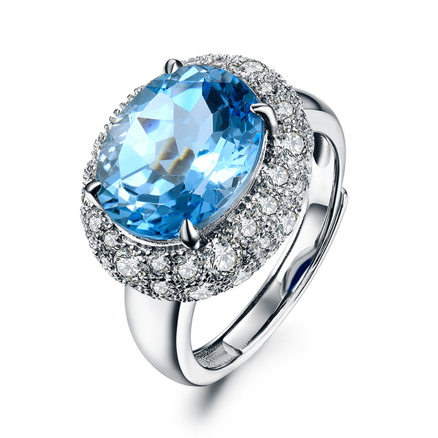 62ct natural blue topaz wedding rings for women real 925 sterling silver wedding band adjustable - Topaz Wedding Ring