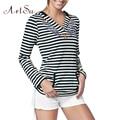 ArtSu Mujeres Tops T camisa de Estampado de Flores de Manga Larga A Rayas loose tops womens casual señora tallas grandes tee camiseta clothing ASTS50051