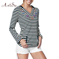 ArtSu Women Tops T shirt Flower Print Long Sleeve Striped Loose Tops Womens Casual Lady Plus Size Tee T-Shirt Clothing ASTS50051