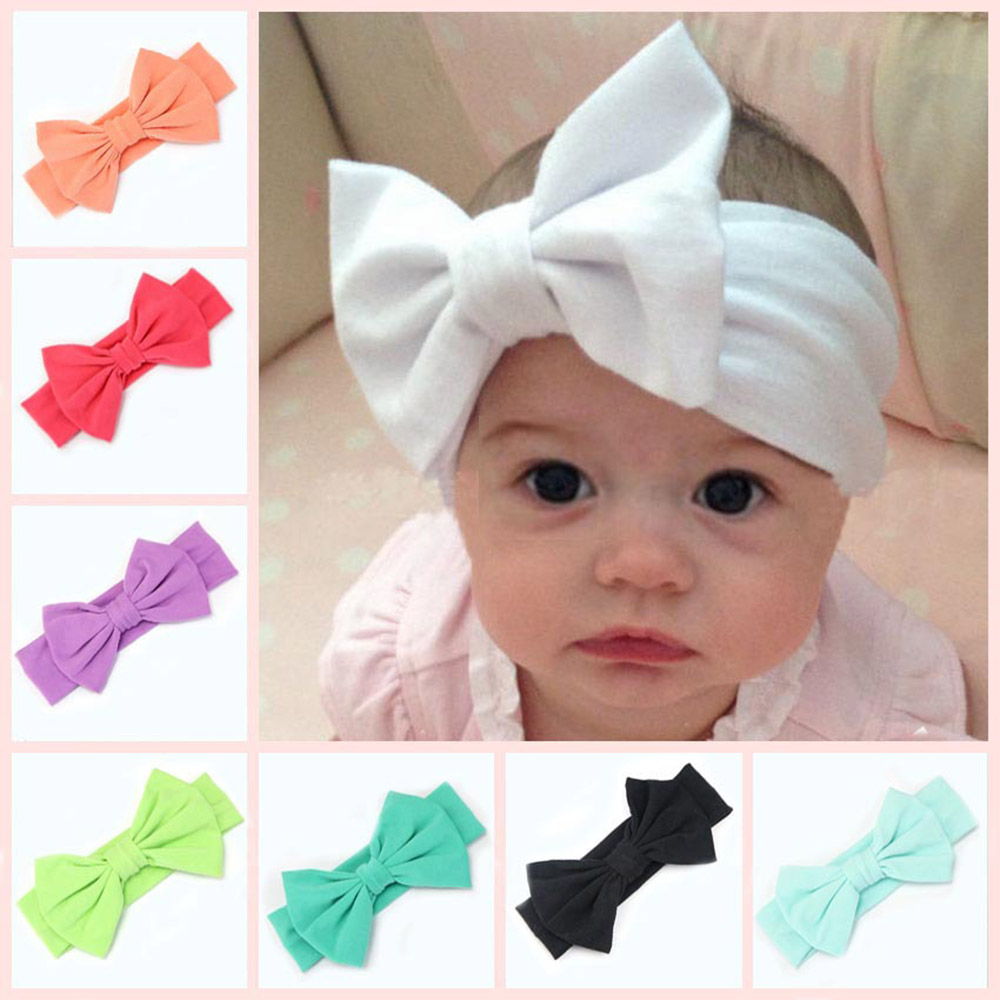 2019 New 7 Inch Big Bows Headband For Girls Solid Large Hair Bows Elastic Turban Head Wraps Baby Kids Top Knot Hairband