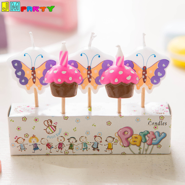 5pcs Lot Butterfly Shape Paraffin Wax Birthday Candle Set Wholesale Or Retail Kids Party Decoration Cake Topper Decor Candles