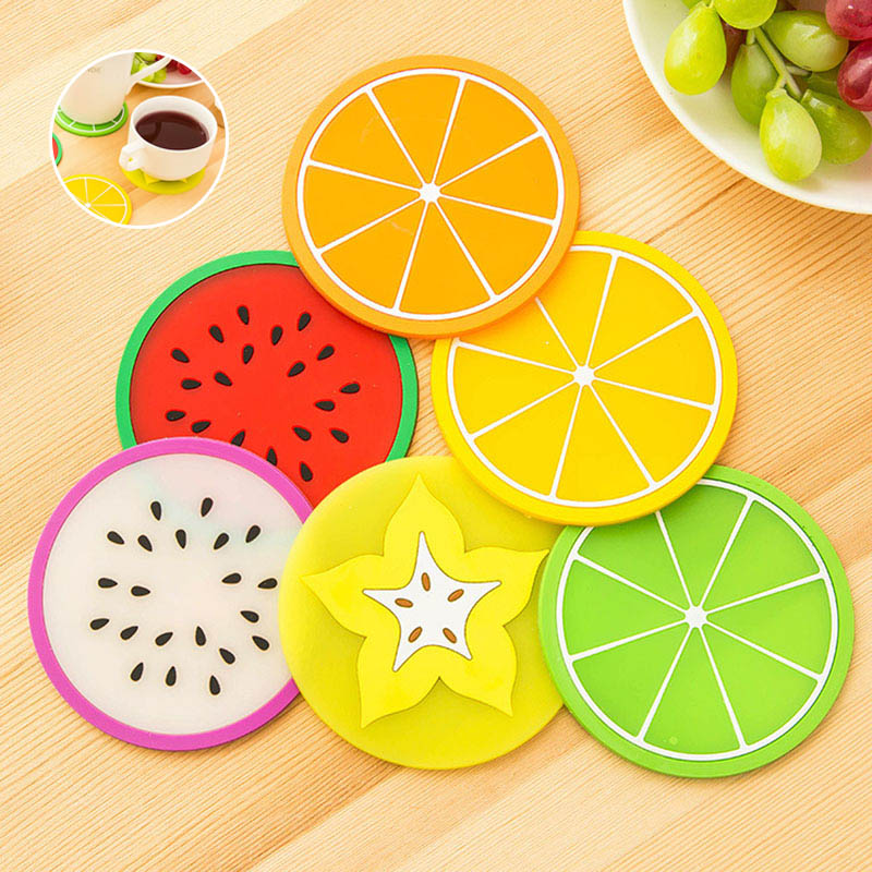 5Pcs Jelly Fruit Shape Cup Mat Hot Drink Holder Skid Insulation Silicone Gel Pad Coasters Hot Sale