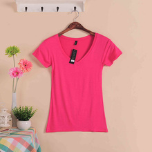 Solid Color Short Sleeve Women's Fashion Cotton V-neck T-shirt