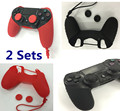 2 sets anti-skid Silicone Rubber Skin Case Shell w/strap+4pcs Thumb Sticks Grips Cap Cover For Sony Playstation 4 PS4 Controller