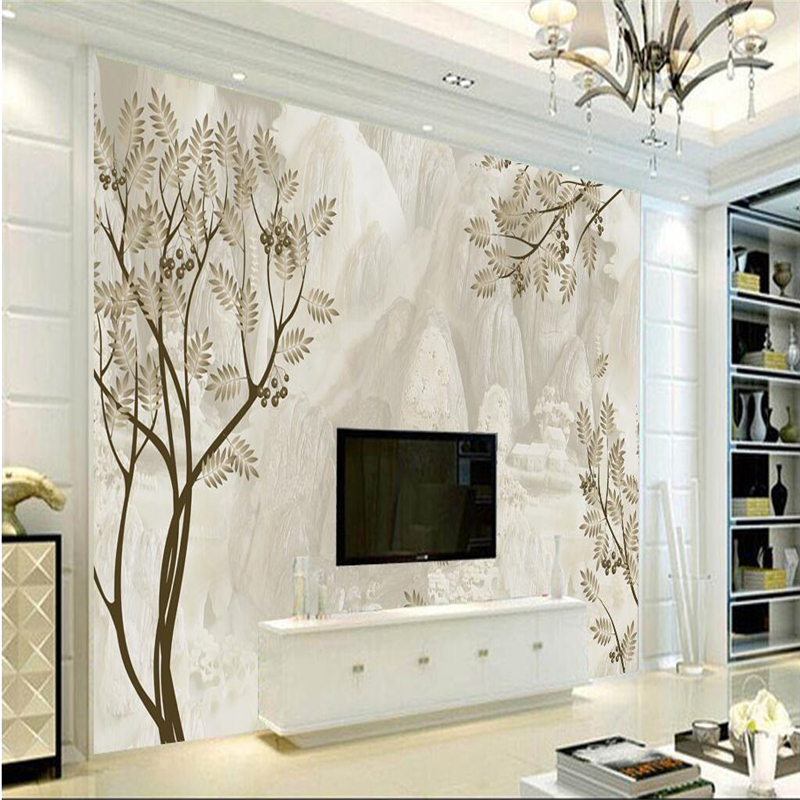 Wall Papers Home Decor Custom Foliage 3d Stereoscopic Wallpaper Minimalist Embossed Non-Woven TV Background Study Kitchen Wall