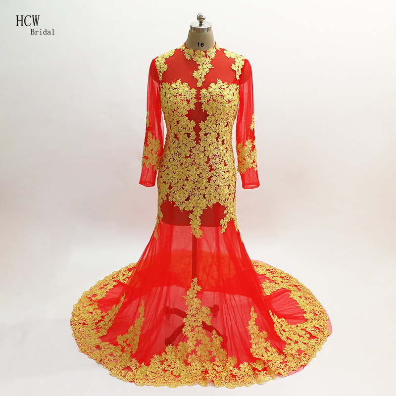 Red Long Sleeve Evening Dress With Gold Lace High Neck Sweep Train Illusion See Through Women Special Occasion Dresses Cheap