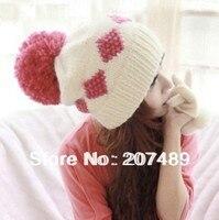 Señoras de la manera Hizo Punto el sombrero Beanie Cap Otoño Invierno Primavera dulce del oído Protegido con gran bola de pelo blanco + rojo