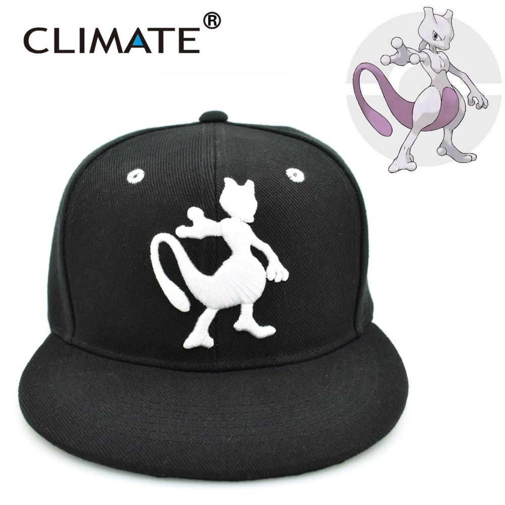 Prix pour CLIMAT 2017 Jeu Populaire Poche ALLER Gotcha Pikachu Mewtwo Mewtu Plat Snapback Caps Pocket Monster Pikachu Chapeau Adulte Hommes Femmes