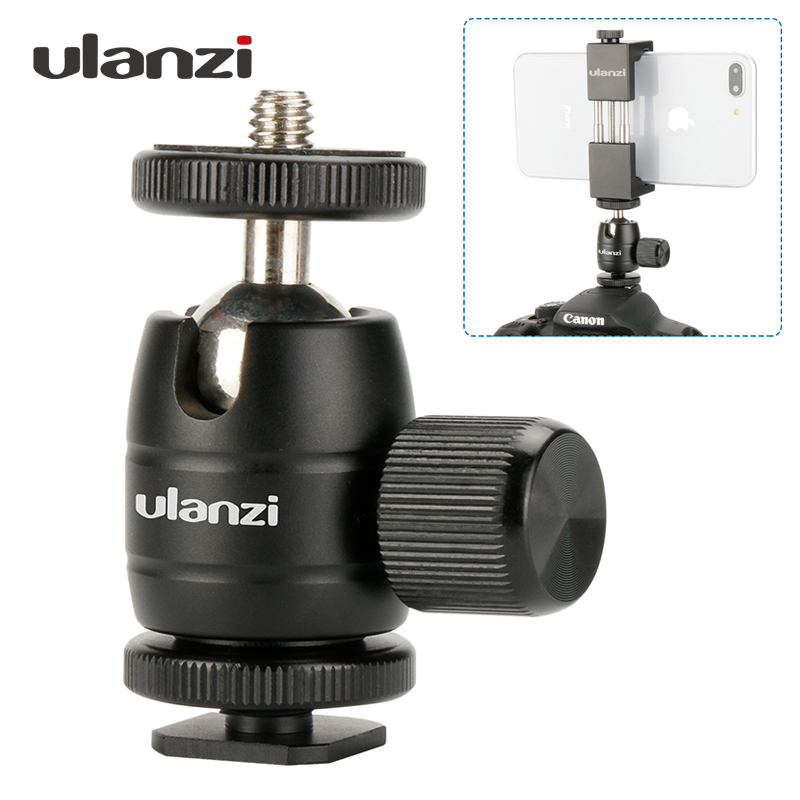 купить Ulanzi Mini Metal Tripod Ballhead Camera Tripod Ball Head with 1/4 Screw Cold Shoe Adapter Mount for Canon for Smarthone Tripod недорого