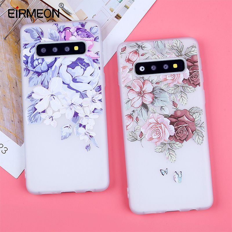 3D Relief Soft TPU Cases For Samsung Galaxy S10 Flowers Covers For S7 Edge S8 Plus S9 Plus S10  Lite Plus Note 9 Silicone Capas-in Fitted Cases from Cellphones & Telecommunications