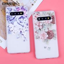 3D Relief miękki TPU etui na Samsunga Galaxy S10 kwiaty pokrowce na S7 krawędzi S8 Plus S9 Plus S10 Lite Plus uwaga 9 silikonowe Capas
