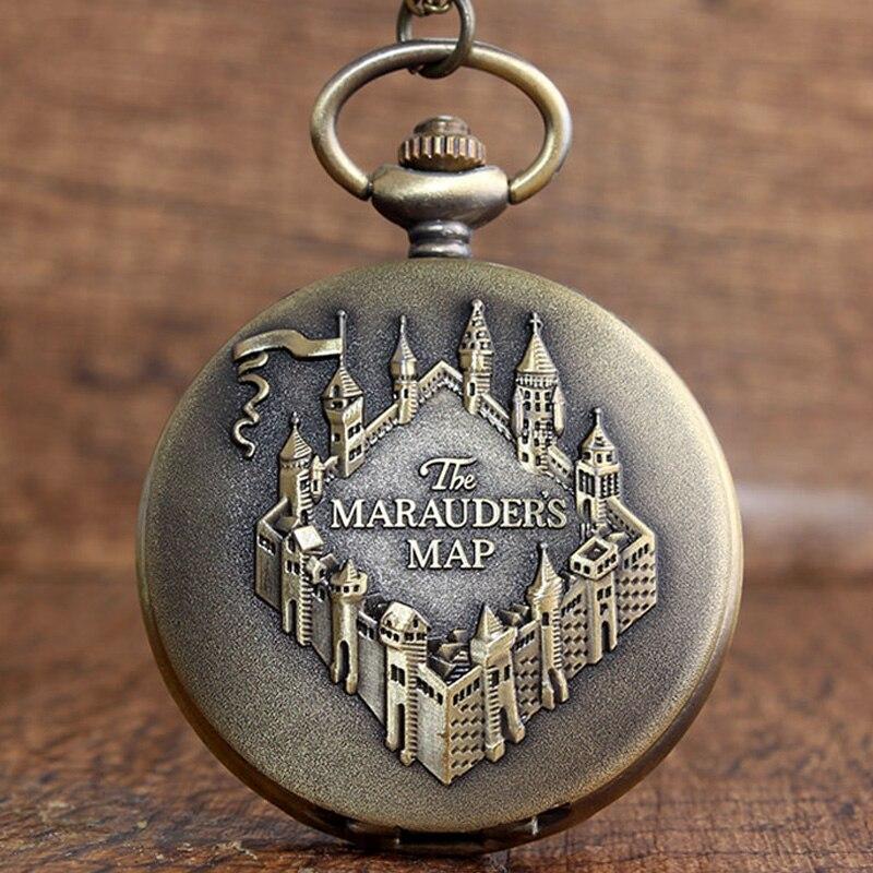 Vintage Marauders Map Copper Pocket Watch Necklace Pendant Clock With Chain Women Men Gift Xmas Reloj De Bolsillo
