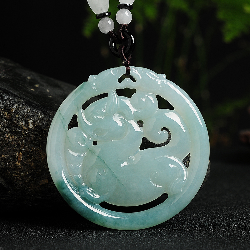 Natural A cargo green Emerald LH6532 Jade Brave troops accessories Authentic pendant necklace size56*56.5*6.5mm Free shipping