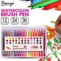 Bianyo 12 24 36 Color Art Watercolor Brush Pen Set For School Children Drawing Pen Soft