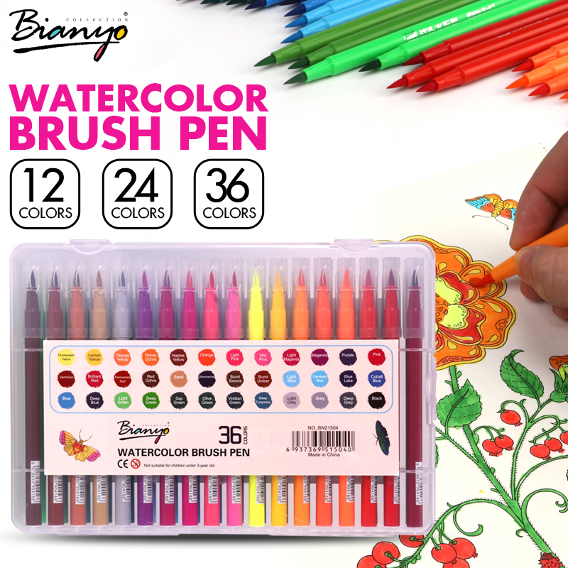 Bianyo 12/24/36 Color Art Watercolor Brush Pen Set for School Children Drawing Pen, Soft Brush Pen Set Watercolor Book Markers