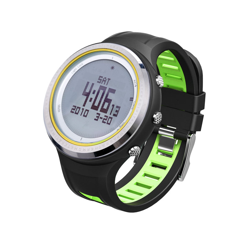 SUNROAD FR800NA Outdoor Sports Men Watch-Stopwatch Digital Altimeter Barometer Compass Pedometer Watches Clock Men (Green)