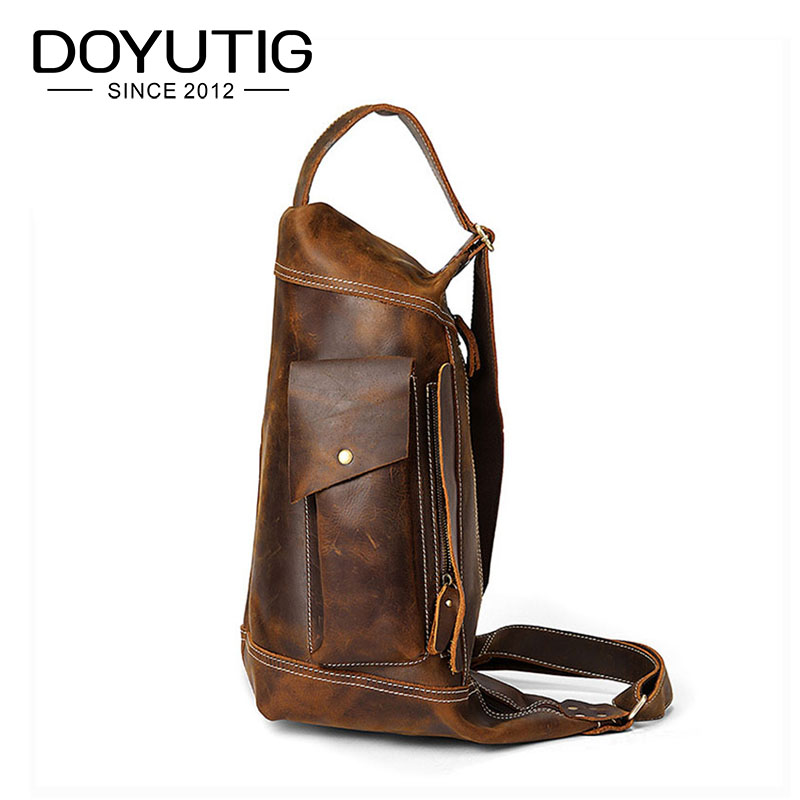 DOYUTIG Vintage Mens Crazy Horse Leather Brown Shoulder Bags Male Causal Travel Bags With Genulne Leather Fashion Bags G125DOYUTIG Vintage Mens Crazy Horse Leather Brown Shoulder Bags Male Causal Travel Bags With Genulne Leather Fashion Bags G125