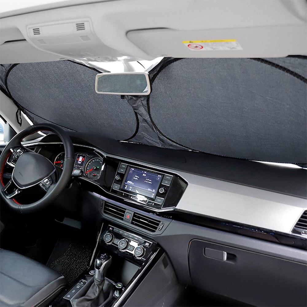 H2CNC Auto รถด้านหน้าด้านหลังพับได้ Visor Sun Shade ฝาครอบกระจก 147 ซม.x 69 ซม.