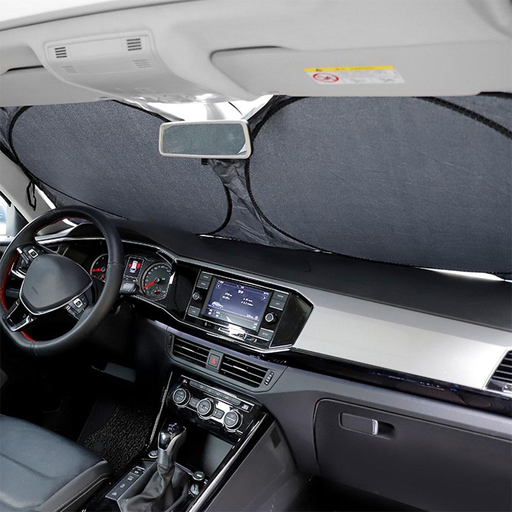 H2CNC Auto Mobil Depan Belakang Jendela Foldable Visor Sun Shade Penutup Kaca Depan Blok 147 Cm X 69 CM title=