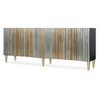 Aparador de comprimento de 180cm com teste padrão de plisse/pés de madeira dourados