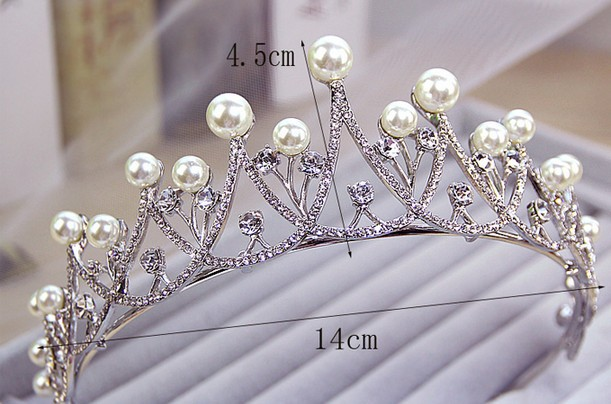 New Sparkling Crystal Pearl Tiara Crown Bridal Hair Accessories For Wedding Quinceanera Tiaras And Crowns Pageant Diamante Tiara 4