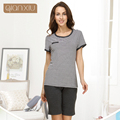 Qianxiu Pijamas Para As Mulheres Verão Casuais Mulheres Conjunto de Pijama Tarja-manga Curta Salão desgaste