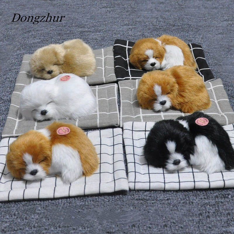Dongzhur Stuffed Toys Lovely Simulation Animal Doll Plush Sleeping Dogs Toy With Sound Kids Toys For Children Decorations Gift