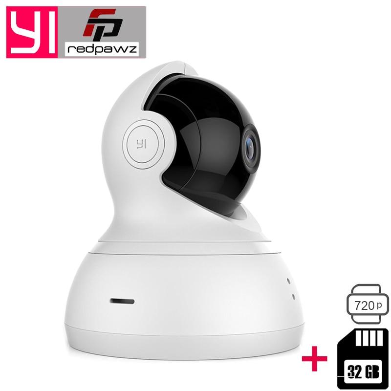 [international edition] xiaomi yi dome camera 1080p fhd 360 degree 112 wide angle pan tilt control two way audio yi dome camera International Xiaomi YI Dome Camera 112 720P 360 PTZ Xiaoyi IP Camera WiFi Webcam Two-way Audio Night Vision + 32 GB SD Card