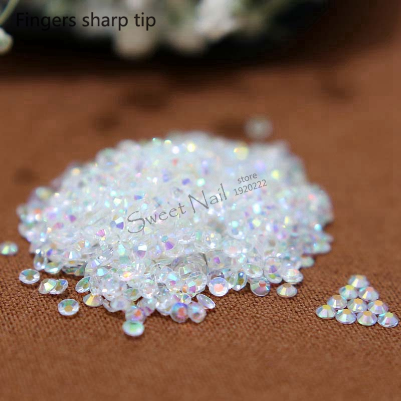 1000 pcs 3mm Transparent white AB 14 Facets Resin Round Rhinestone Sparkling Rhinestones Nail Art Decoration DIY N23