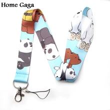 Homegaga Three bare bears cartoon kids lanyards neck straps for phones keys bead id card holders keychain webbing D1218