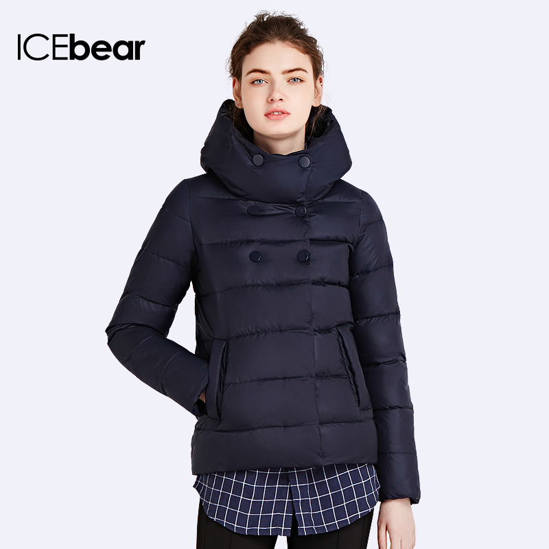 ICEbear 2017 Slim Short Coat Bio Down Jacket Winter Double Breasted Women's Cotton   Parka   Inside Have Pocket 16G6117D
