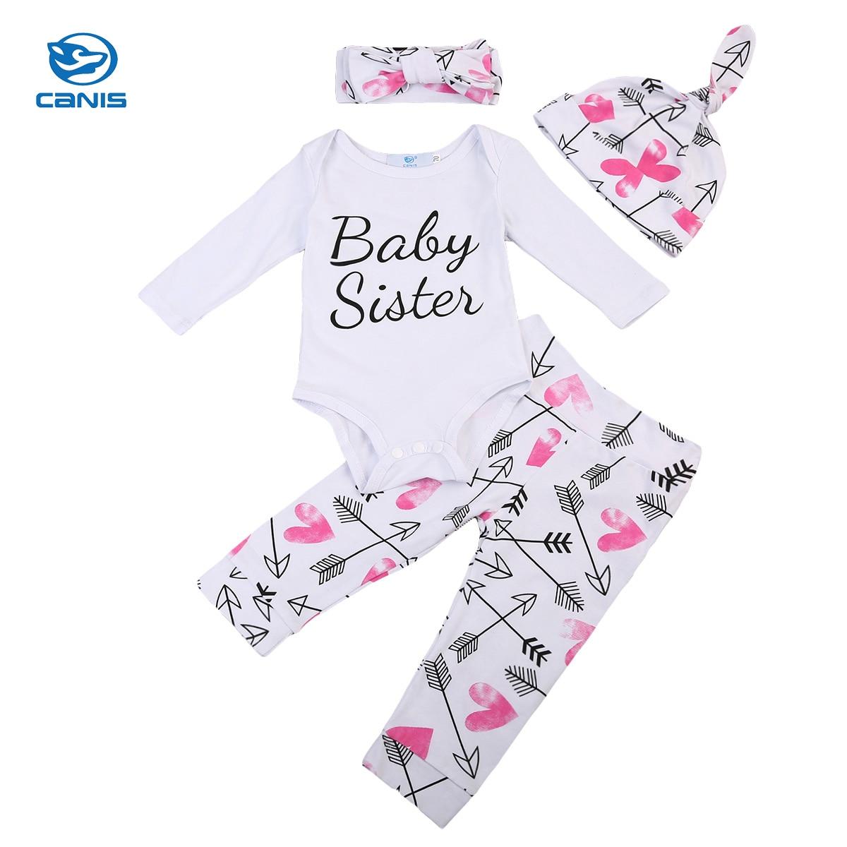 4PCS Newborn Infant Baby Girls Long Sleeve Romper Bodysuit Floral Pants Outfits Baby Set Autumn