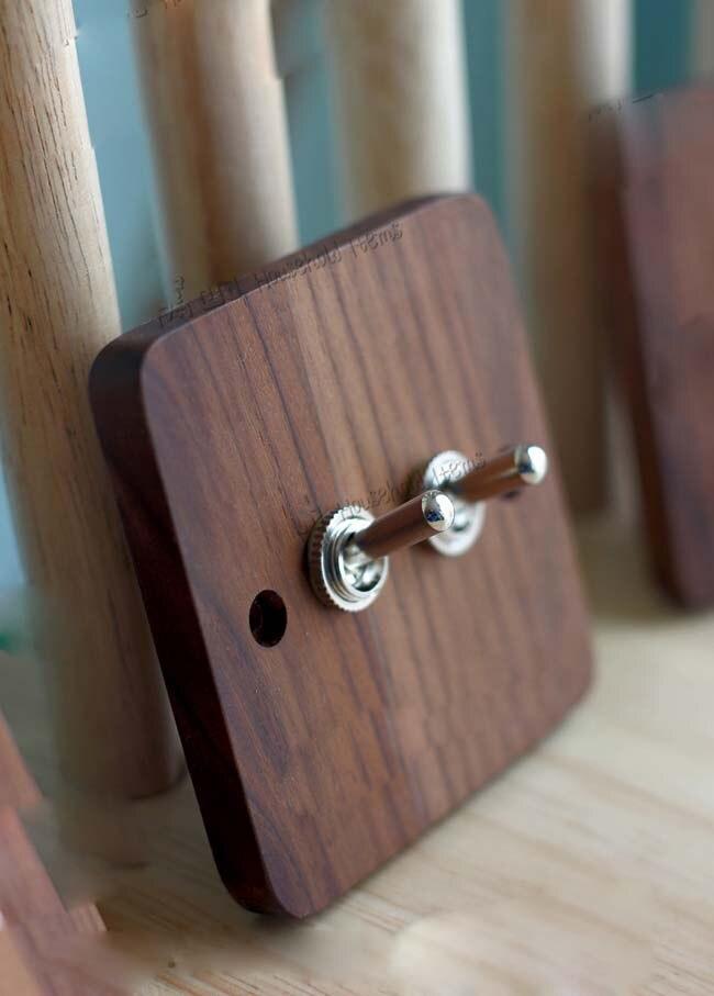 Holz Neuen Stil Retro Wandschalter Holz Zwei Zwei wege 6A 110 V 250 ...