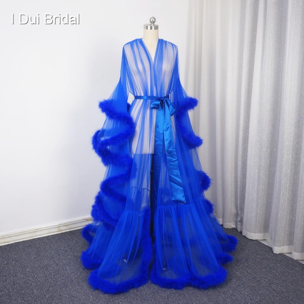 Королевский синий перо Свадебная одеяние мусульманской с длинным рукавом перо халат маскарад платье для танцев платье Homecoming