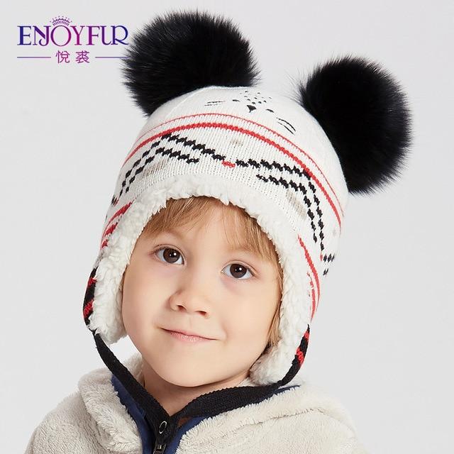 ENJOYFUR Unisex invierno niños sombreros Fox Fur Pompom gorros de niños  cálido forro grueso otoño Cap b255f7a8afe