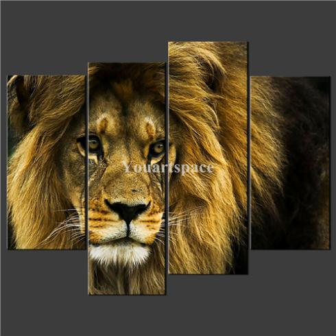 4 Piece Wall Art Painting Pictures Print Canvas Old Lion Wild Cat Cascade Picture Home Modern Decoration Oil - Youartspace store