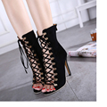 2017New Quality Gladiator High Heels women Sandals Genova Stiletto Sandal Booties open toe Lace Up Pumps shoes