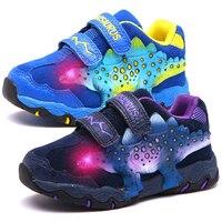 DINOSOLES Kid Boys Shoes Light Up Children Sneakers Leahter 3D Dinosaur LED Big Boys Trainers 2019 Autumn Sport Tennis Shoes