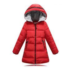 2016 новых Девушек Зимнее Пальто Сгустите Теплый Хлопок Проложенный С Капюшоном Дети Зимняя куртка для девочек одежда Детская одежда Парки девушка