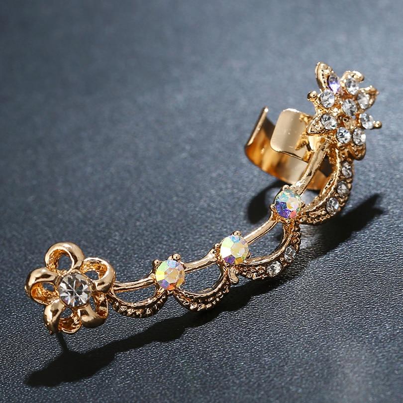 DIDNOT Viele Kristall Persönlichkeit Blumen Clip Ohrringe Links Gold ...