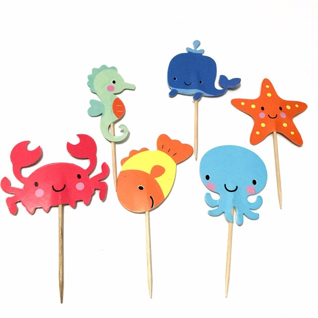 24pcs Sea Animals Nautical appetizer cake pick under the sea Cupcake Toppers for Baby Shower